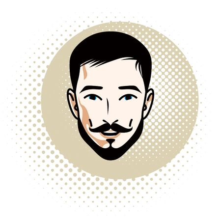 Vector illustration of handsome brunet male face with mustache and beard, positive face features, clipart. Ilustração