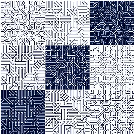 Circuit board seamless patterns set, vector backgrounds collection. Microchip technology electronics wallpaper repeat design.