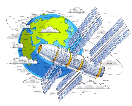 Space station flying orbital flight around earth, spacecraft spaceship with solar panels, artificial satellite. Thin line 3d vector illustration. Ilustração