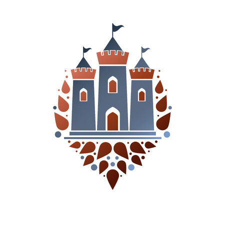 Medieval fortress decorative isolated vector illustration. Retro Castle logo in old style on white background.