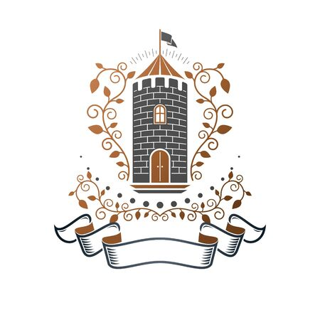 Ancient Castle emblem. Heraldic Coat of Arms decorative logo isolated vector illustration. Ornate logotype in old style on white background. Ilustração