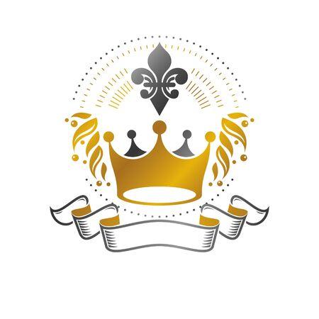 Majestic Crown emblem. Heraldic Coat of Arms decorative logo isolated vector illustration. Ornate logotype on white background.