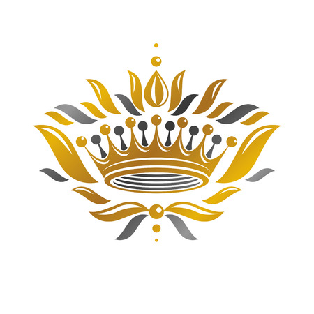 Imperial Crown vector illustration. Heraldic vintage logo. Ancient logotype isolated on white background. Illustration