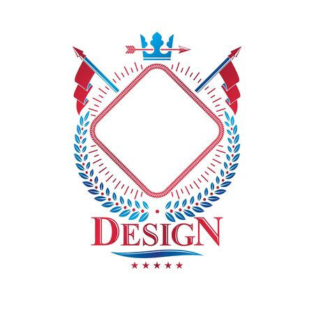 Graphic insignia made with imperial Crown and flags. Heraldic Coat of Arms, vintage vector logo. Imagens - 124975893