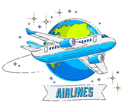Plane airliner with earth planet and ribbon with typing, airlines air travel emblem or illustration. Beautiful thin line vector isolated over white background. Illusztráció