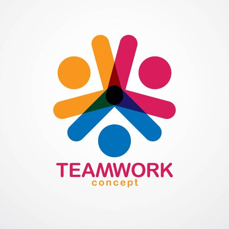 Teamwork and friendship concept created with simple geometric elements as a people crew. Vector icon or logo. Unity and collaboration idea, dream team of business people colorful design.