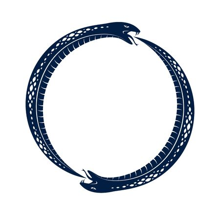 Snake eating its own tale, Uroboros Snake in a shape of circle, endless cycle of life and death, Ouroboros ancient symbol vector illustration logo, emblem or tattoo.