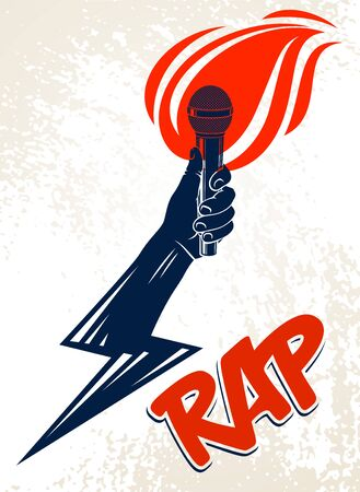 Rap music vector logo or emblem with microphone in hand flames and lightning bolt, hot Hip Hop rhymes festival concert or night club party label, t-shirt print. Illustration
