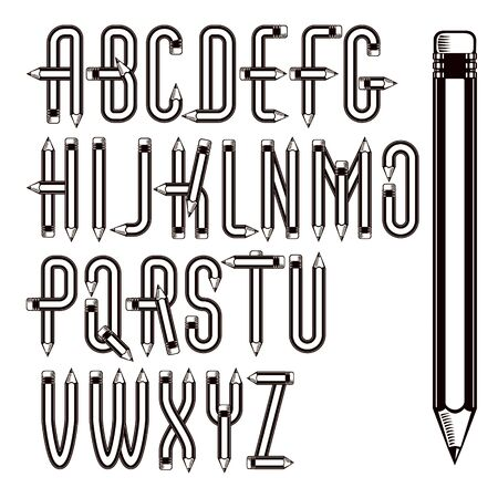 Vector capital alphabet letters collection made using office supplies design, wooden pencils. Can be used as logo design elements in copywriting business advertising. Ilustração