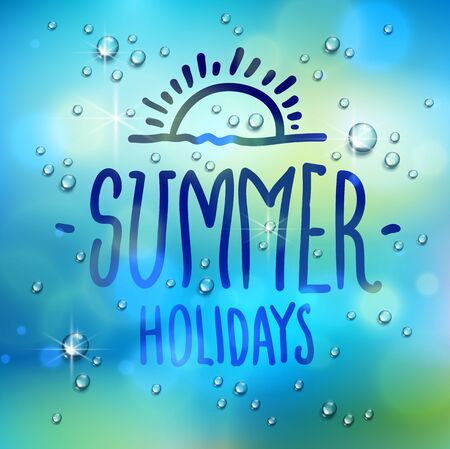 Summer word drawn on a window, water rain drops or condensate macro over blurred blue background, vector 3d realistic transparent illustration, summertime nature beautiful art.