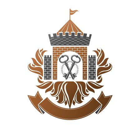 Ancient Fort emblem. Heraldic Coat of Arms decorative logo isolated vector illustration. Antique logotype in old style on white background. Stock Vector - 126512314