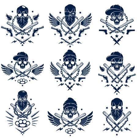 Criminal tattoo ,gang emblem or logo with aggressive skull baseball bats and other weapons and design elements, vector set, bandit ghetto vintage style, gangster anarchy or mafia theme. Illustration