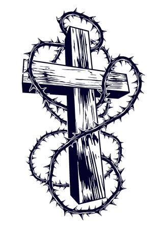 Christian cross with blackthorn thorn vector religion logo or tattoo, passion of the Christ. Ilustração