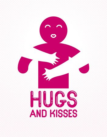 Hugs and kisses with loving hands of loved person and kissing lips, lover woman hugging his man and shares love, vector icon logo or illustration in simplistic symbolic style. Illustration