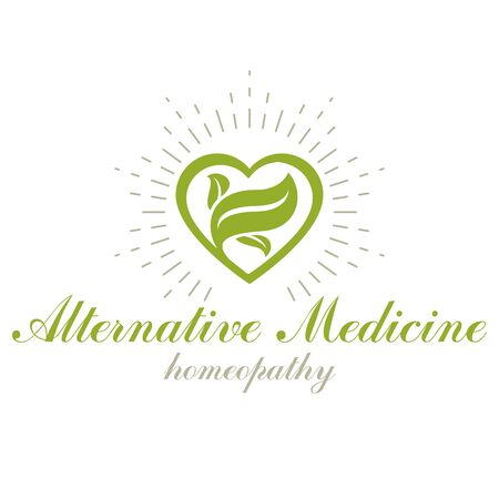 Vector heart shape composed with green leaves. Alternative medicine conceptual symbol can be used as phytotherapy logo in healthcare business.