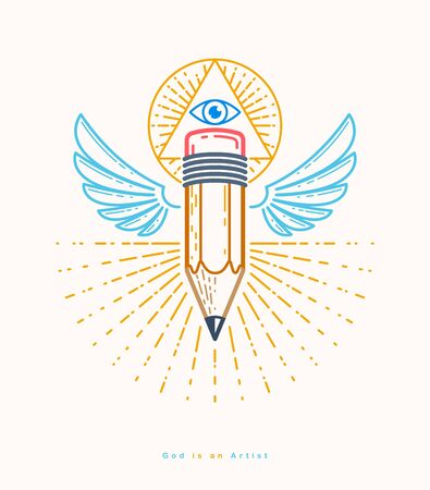 God is a designer concept, pencil with wings and all seeing eye of God in sacred geometry triangle, god is an artist, vector logo or icon in trendy linear style.