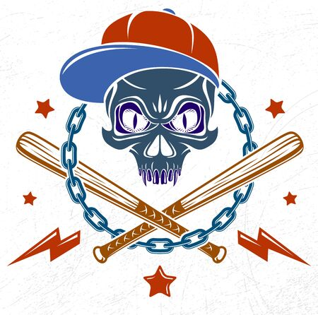 Gangster emblem logo or tattoo with aggressive skull baseball bats and other weapons and design elements, vector, criminal ghetto vintage style, gangster anarchy or mafia theme. Illustration