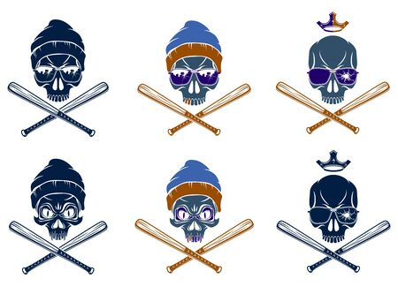 Gangster emblem logo or tattoo with aggressive skull and baseball bats, vector set, criminal ghetto vintage style, gangster anarchy or mafia theme.