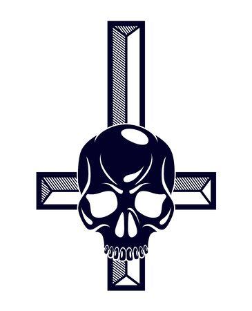 Satanic symbol with inverted skull dead aggressive head of Satan Devil Evil. Illustration