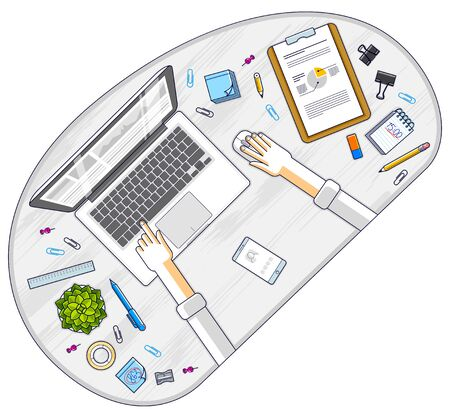 Office employee or entrepreneur work desk workplace with hands and laptop computer and diverse stationery objects for work, top view. All elements are easy to use separately. Vector illustration.