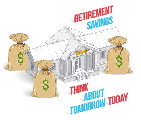 Retirement savings concept, bank building with money bags cartoon isolated over white background. 3d vector business and finance illustration, isometric thin line design.  イラスト・ベクター素材