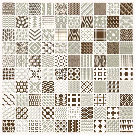 Grafiki wektorowe vintage tekstury utworzone z kwadratów, rombów i innych kształtów geometrycznych. Kolekcja 100 bezszwowych wzorów, która najlepiej nadaje się do projektowania tekstyliów.