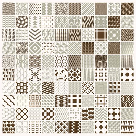 Vector graphic vintage textures created with squares, rhombuses and other geometric shapes. 100 seamless patterns collection best for use in textiles design.