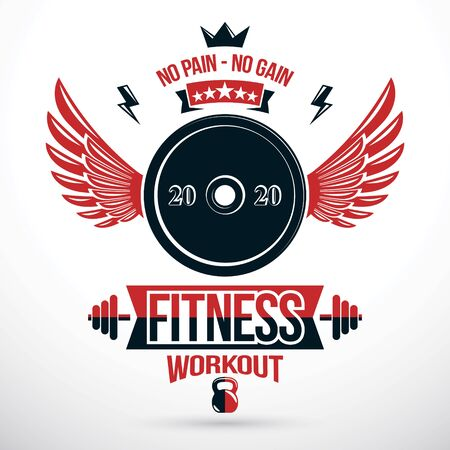Fitness center graphic vector emblem, vector disc weight symbol composed with wings.