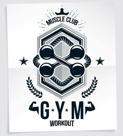 Sport popularization inspirational vector poster made using fitness dumbbell sport equipment.