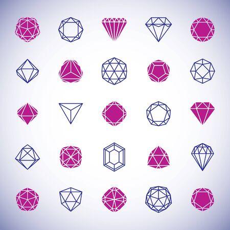 La collection de formes géométriques abstraites de vecteur peut être utilisée comme logo d'identité d'entreprise. Signe de pierres précieuses à facettes. Logo