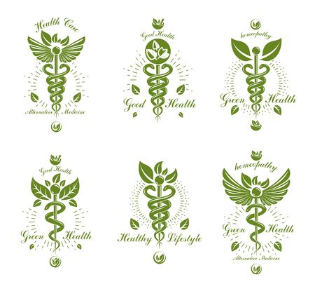 Set of Caduceus vector conceptual emblems created with snakes and green leaves. Wellness and harmony metaphor. Alternative medicine concept, phytotherapy logotypes. Imagens - 126515553