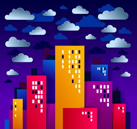 City houses buildings under rain in the night paper cut cartoon kids game style vector illustration, modern minimal design of cute cityscape, urban life, clouds and rain in sky midnight.