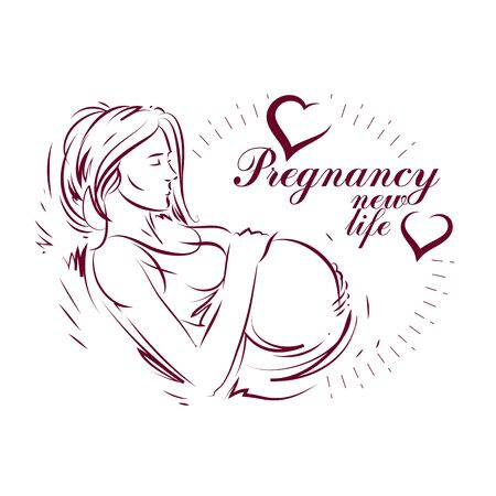 Vector hand-drawn illustration of pregnant elegant woman expecting baby, sketch. Neonatal care center advertising poster
