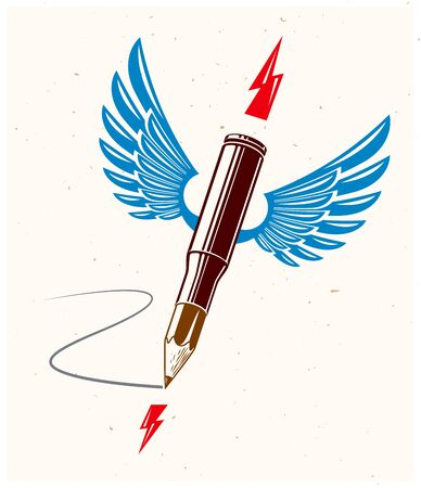 Idea is a weapon concept, weapon of a designer or artist allegory shown as a winged firearm cartridge case with pencil instead of bullet, creative power, vector logo or icon. Illustration