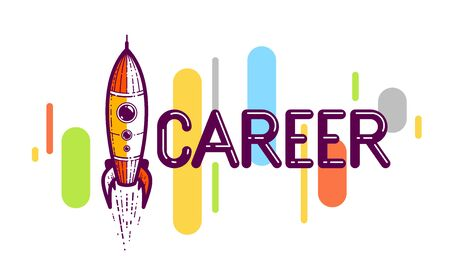 Career word with rocket instead of letter I, work and business concept, vector conceptual creative logo or poster made with special font. Ilustração