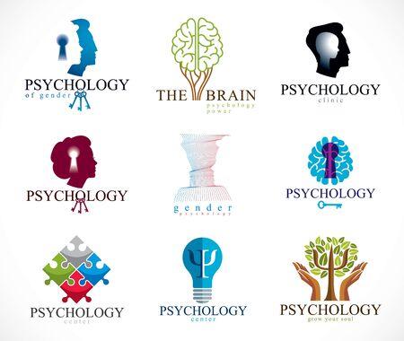 Psicología, cerebro humano, psicoanálisis y psicoterapia, problemas de relación y de género, personalidad e individualidad, neurología cerebral, salud mental. Conjunto de iconos o logotipos vectoriales.