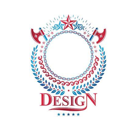 Graphic emblem composed using ancient star, hatchets and laurel wreath. Heraldic vector design element. Retro style label, heraldry logo. Stock Illustratie