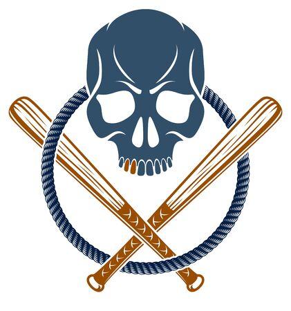Gang brutal criminal emblem or logo with aggressive skull baseball bats design elements, vector anarchy crime terror retro style, ghetto revolutionary.