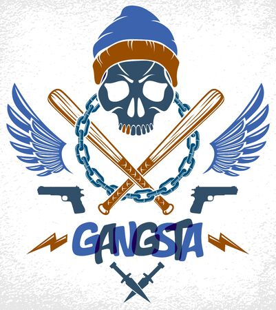 Brutal gangster emblem or logo with aggressive skull baseball bats and other weapons and design elements, vector anarchy crime or terrorism retro style, ghetto revolutionary.
