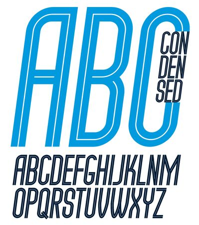 Vector capital thin condensed English alphabet letters collection made with white stripes, best for use in logotype design in telecommunication theme Illustration