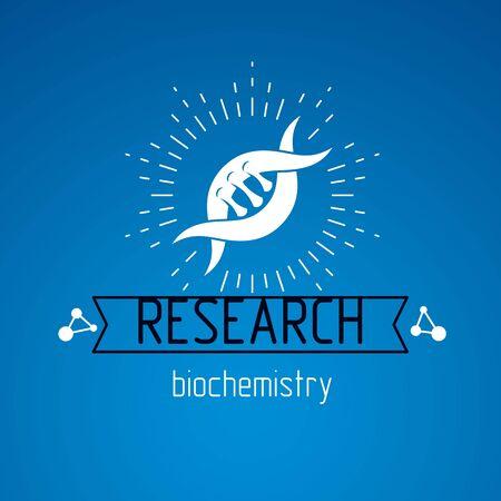Vector model of human DNA, double helix. Bioengineering and genetics conceptual vector logo, laboratory research symbol.