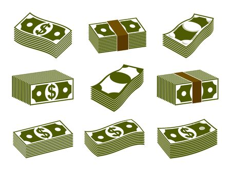 Cash money dollar banknote stack vector simplistic illustration set icon or logo collection, business and finance theme, income taxes revenue prize. Ilustração