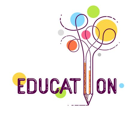 Education word with pencil instead of letter I, study and learning concept, vector conceptual creative logo or poster made with special font. Stock Vector - 127800721