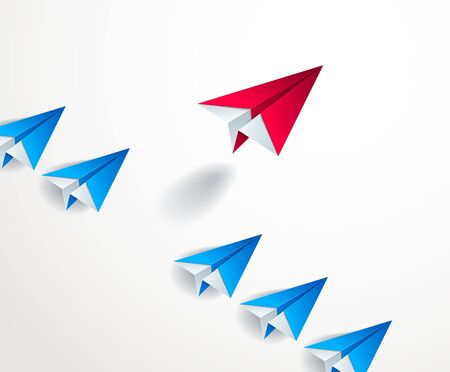 Be special, be first pioneer, be leader, leadership and success concept, line of origami paper toy planes one of them is standing out of line and taking off, 3d realistic vector illustration.