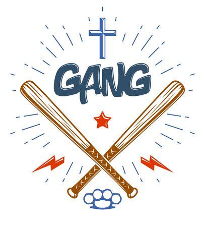 Baseball bats crossed vector criminal gang logo or sign, gangster style theme. Illustration