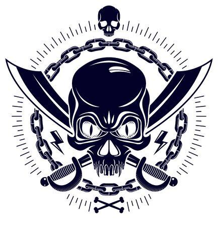 Emblème de pirate crâne agressif Jolly Roger avec armes et autres éléments de conception, logo vectoriel de style vintage ou tête morte de tatouage.