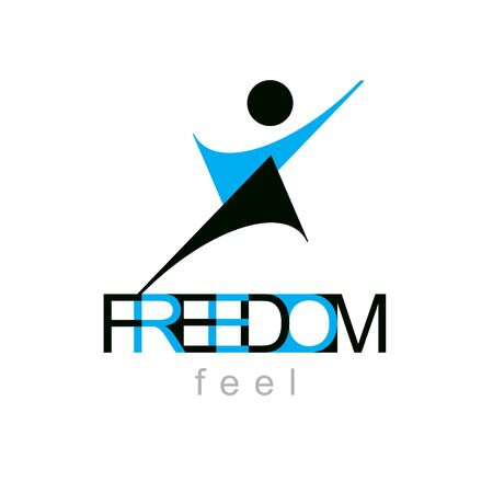 Vector illustration of excited abstract person with raised hands up. Liberty conceptual symbol. Happiness metaphor logotype. Business innovation idea creative emblem.