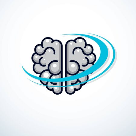Human anatomical brain vector illustration, logo or icon.