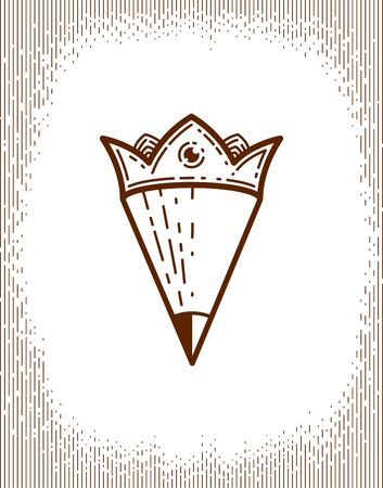 Pencil combined with crown, vector simple trendy logo or icon for designer or studio, creative king, royal design, linear style. Illustration