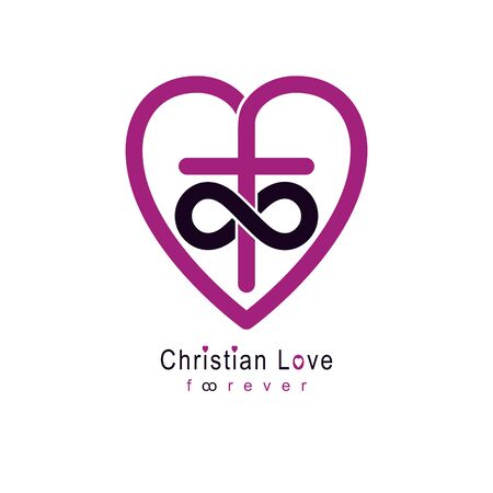 Everlasting Love of God vector creative symbol design combined with infinity endless loop and Christian Cross and heart, vector logo or sign. Ilustração